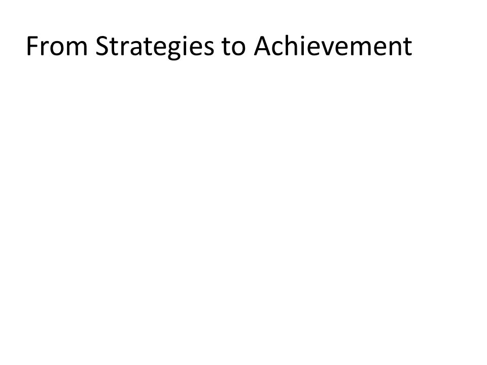 From Strategies to Achievement