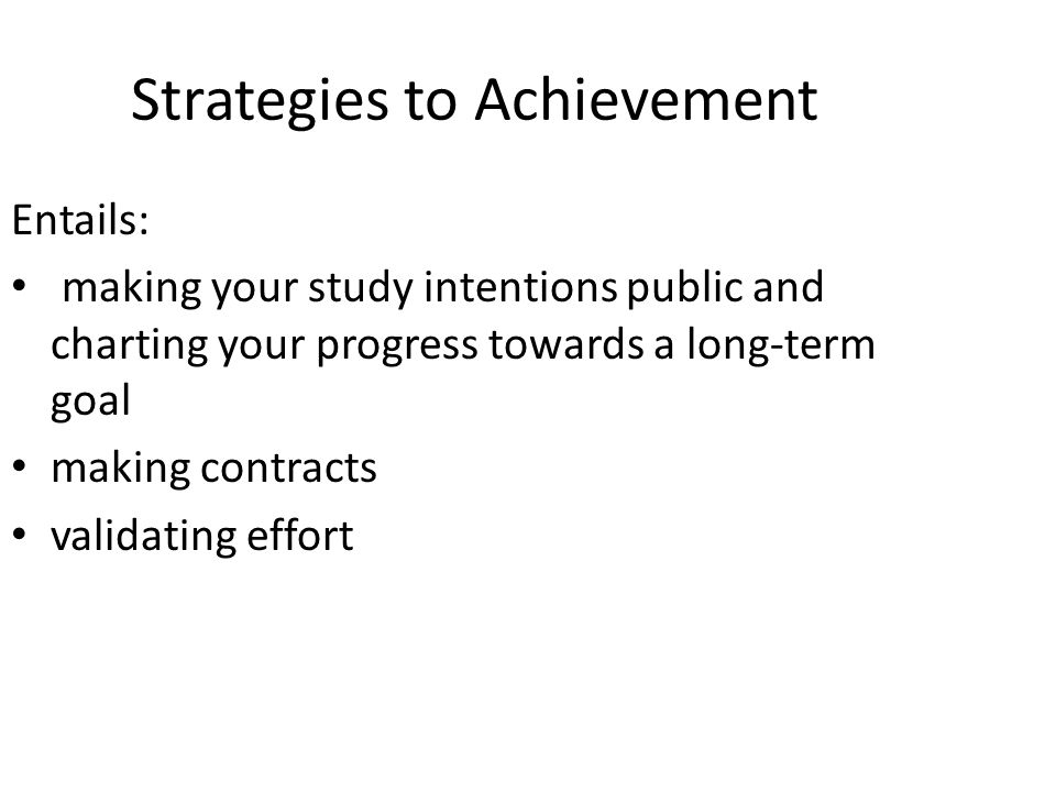 Strategies to Achievement