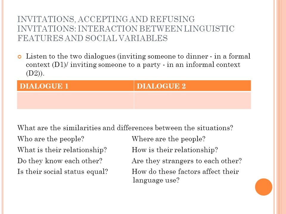 INVITATIONS, ACCEPTING AND REFUSING INVITATIONS: INTERACTION BETWEEN LINGUISTIC FEATURES AND SOCIAL VARIABLES