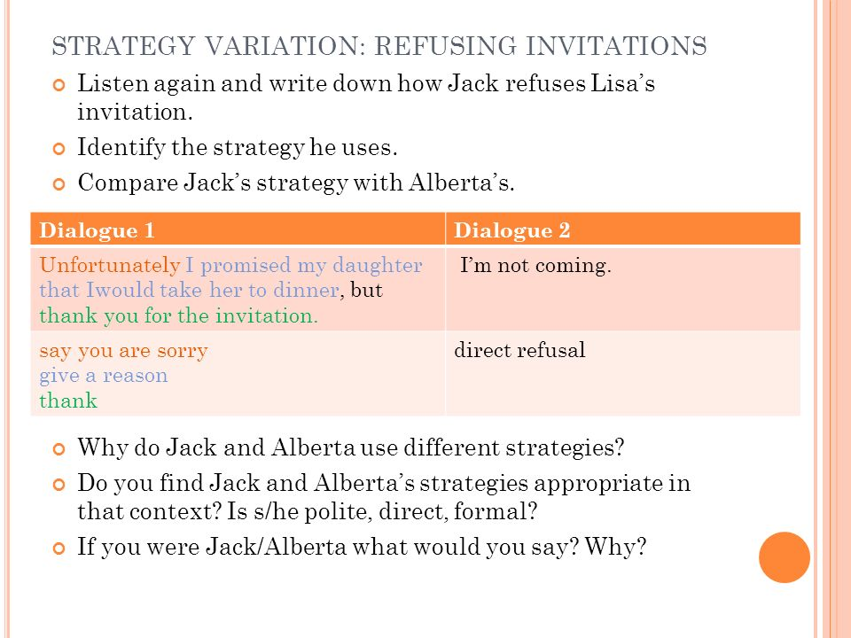 STRATEGY VARIATION: REFUSING INVITATIONS