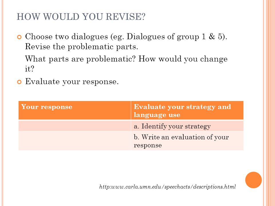 HOW WOULD YOU REVISE Choose two dialogues (eg. Dialogues of group 1 & 5). Revise the problematic parts.