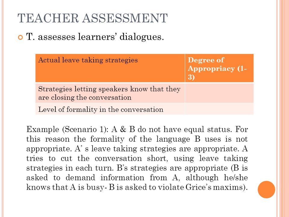 TEACHER ASSESSMENT T. assesses learners' dialogues.
