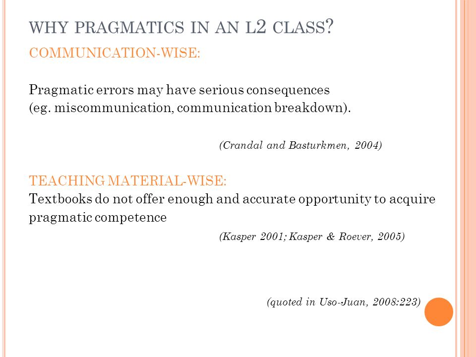 why pragmatics in an l2 class