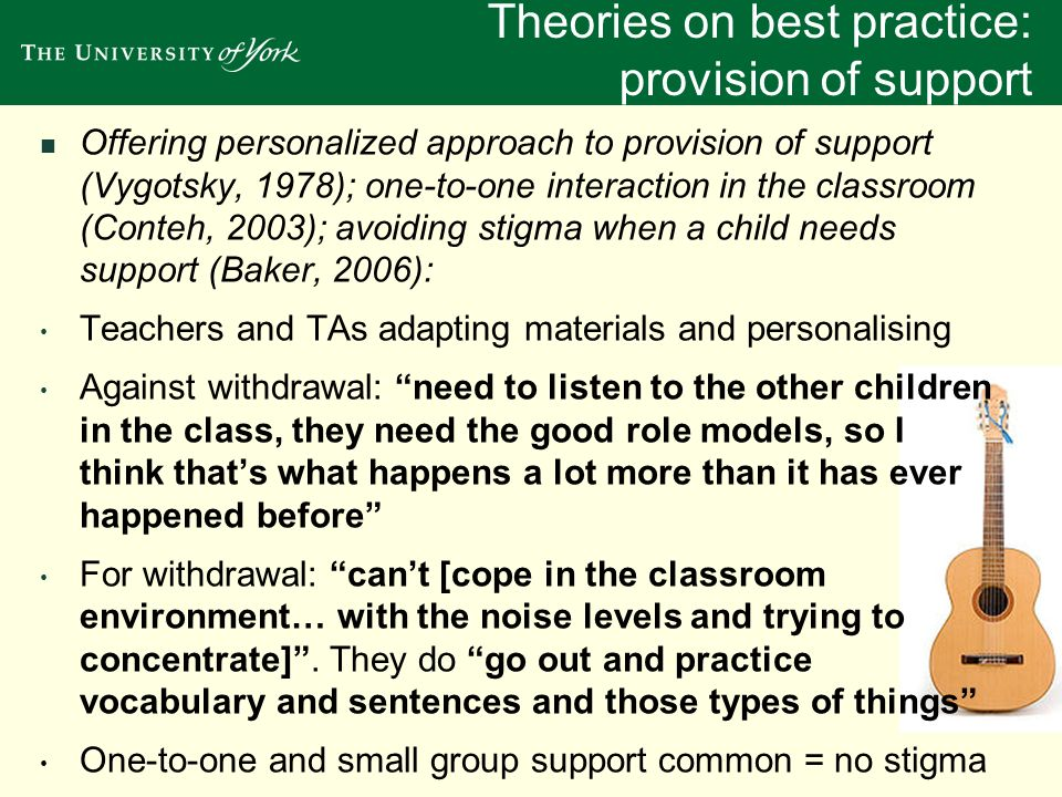 Theories on best practice: provision of support