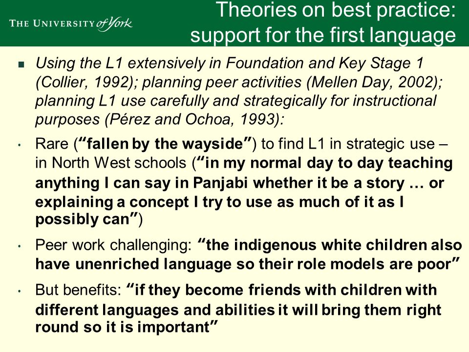 Theories on best practice: support for the first language