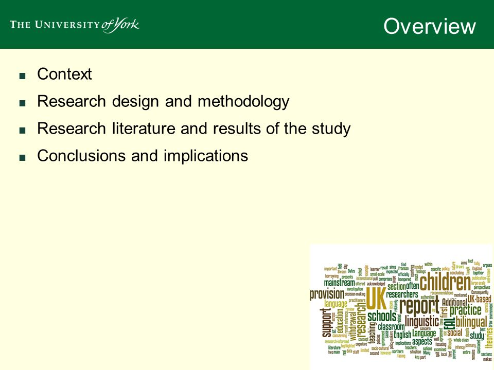 Overview Context Research design and methodology
