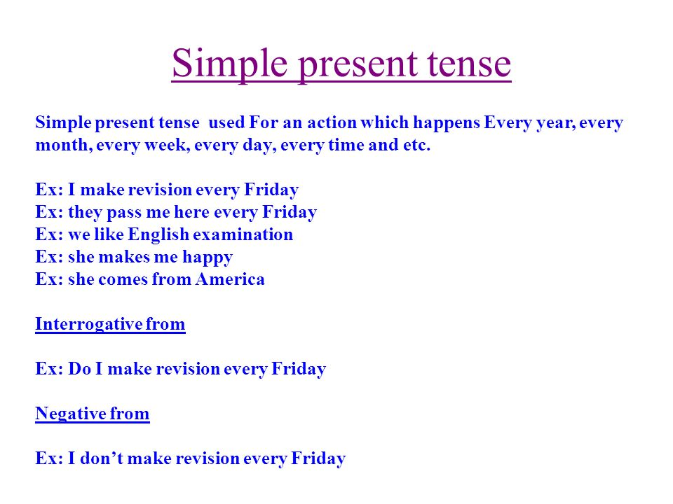 Simple present tense Simple present tense used For an action which happens Every year, every month, every week, every day, every time and etc.