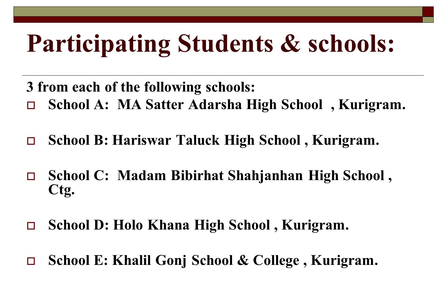 Participating Students & schools: