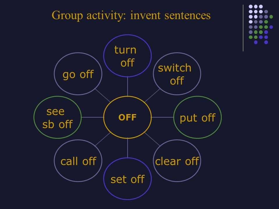 Group activity: invent sentences