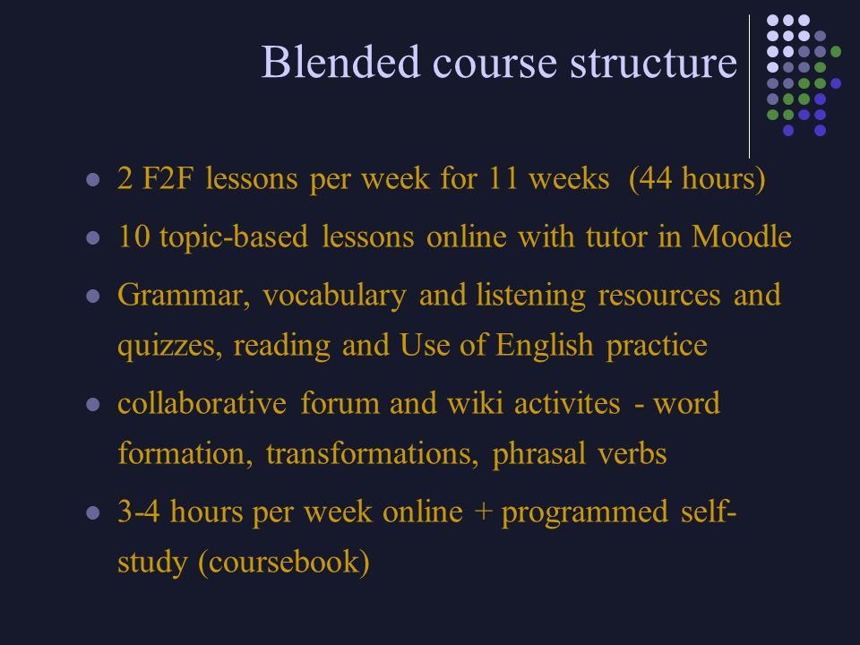 Blended course structure