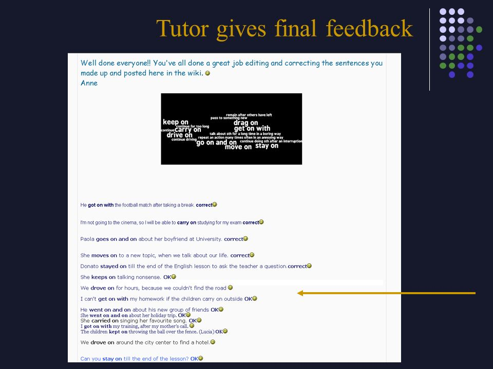 Tutor gives final feedback