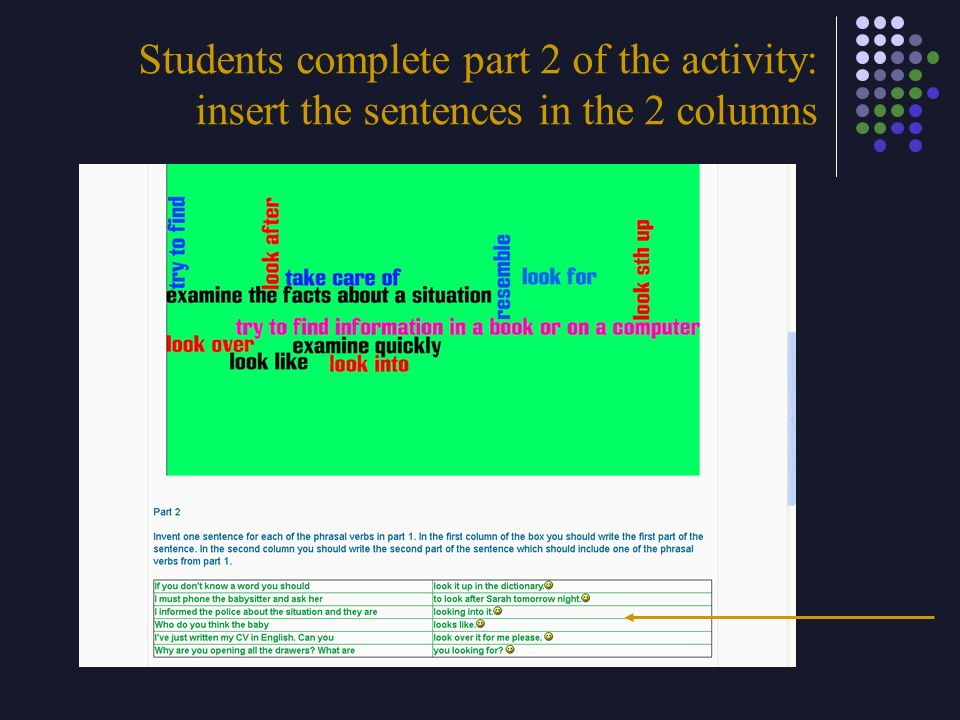 Students complete part 2 of the activity: insert the sentences in the 2 columns
