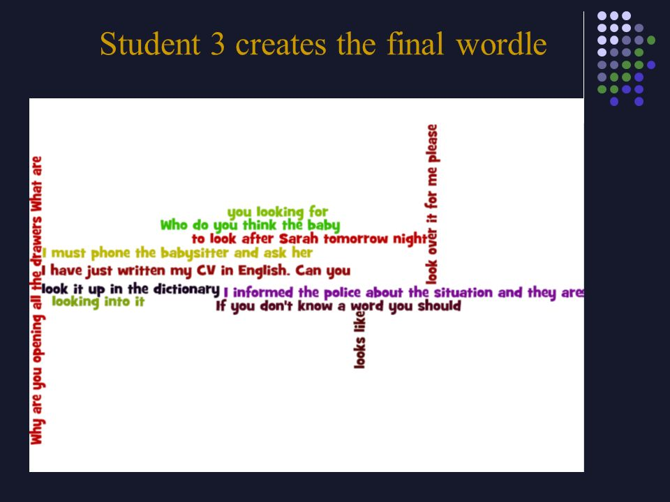 Student 3 creates the final wordle