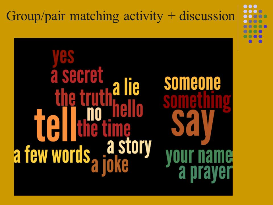 Group/pair matching activity + discussion