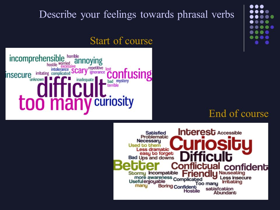 Describe your feelings towards phrasal verbs