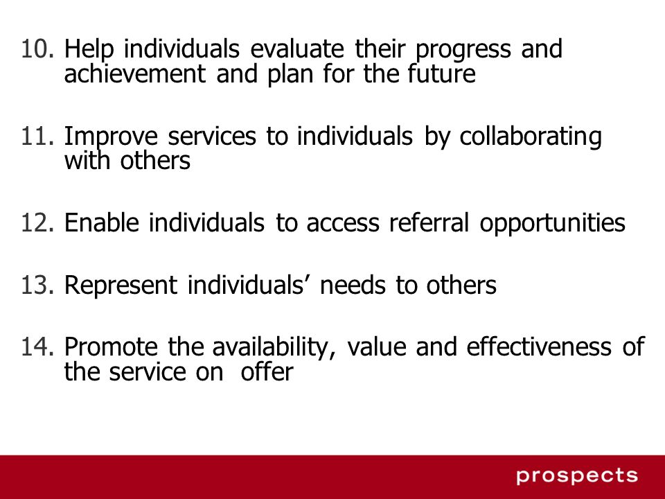 Help individuals evaluate their progress and achievement and plan for the future