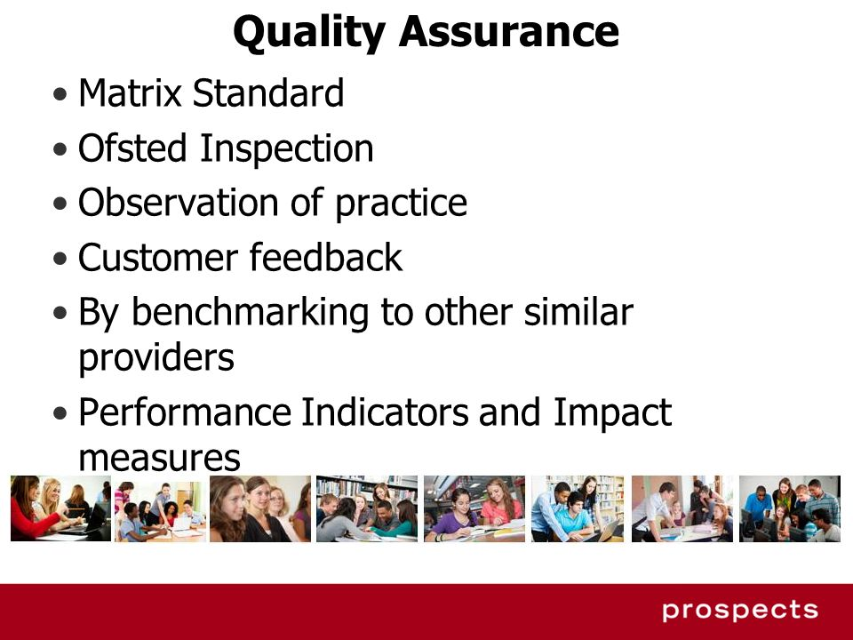 Quality Assurance Matrix Standard Ofsted Inspection