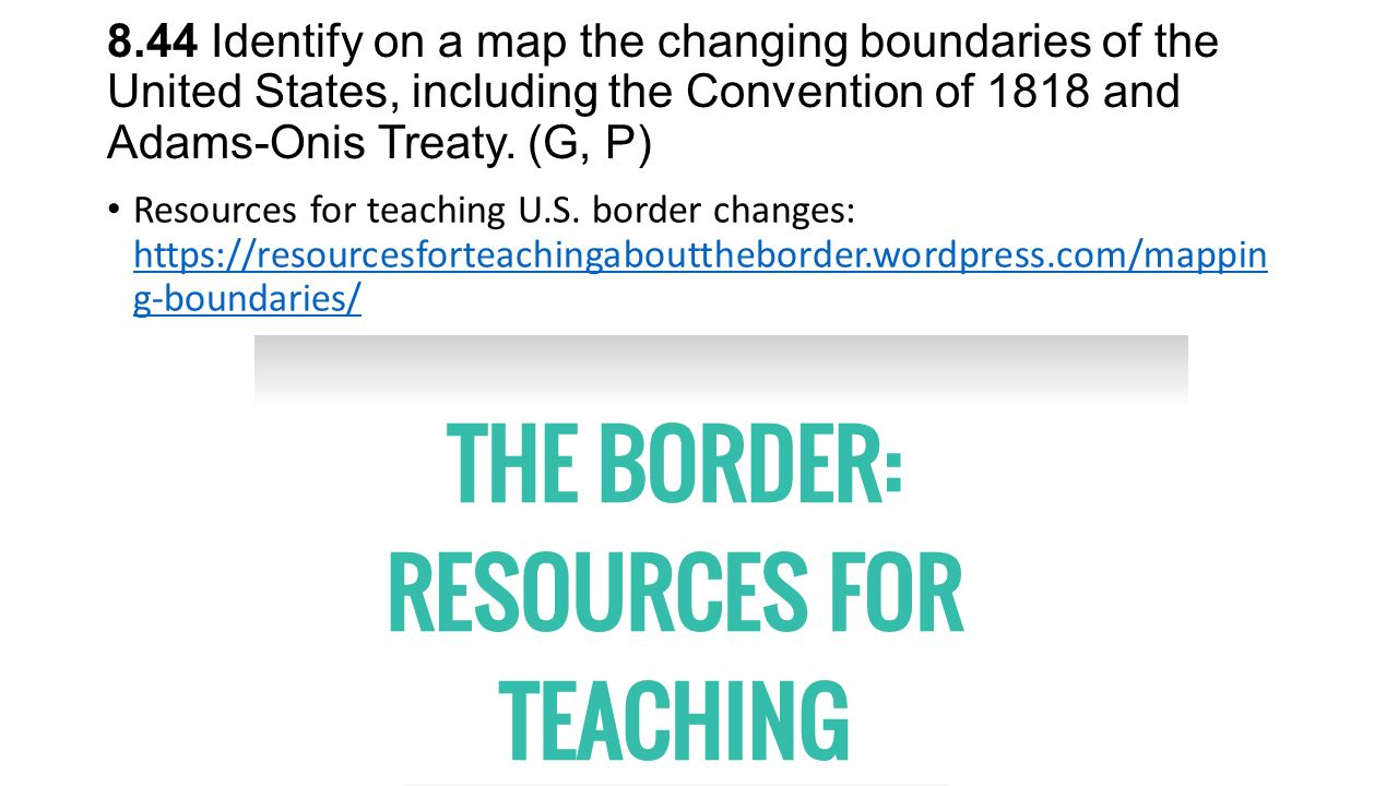 Additional Resources For Incorporating Geography In Th Grade U S - Us 1818 border map