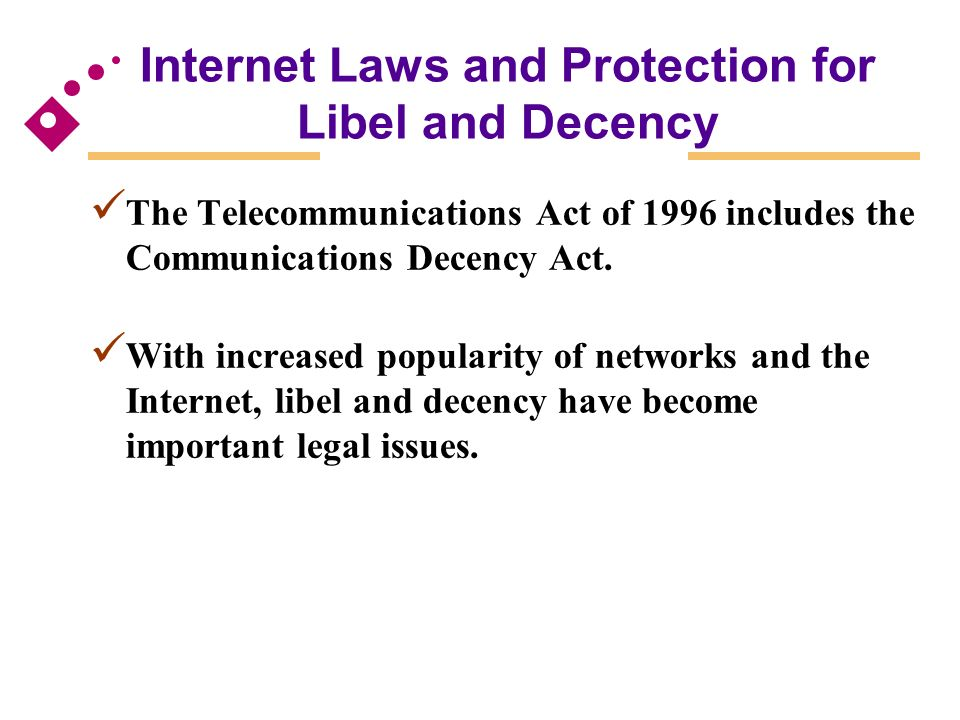 a discussion of the regulation in cyberspace in communications decency act The majority decision of the supreme court of the united states in the case reno et al v the american civil liberties union regarding the communications decency act.