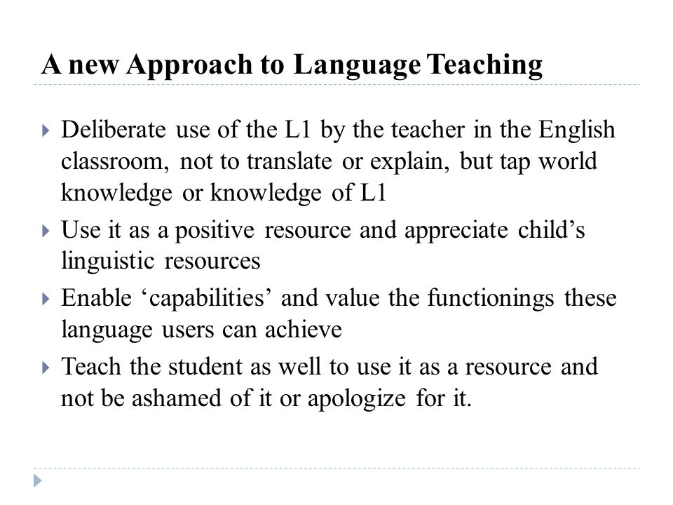 A new Approach to Language Teaching