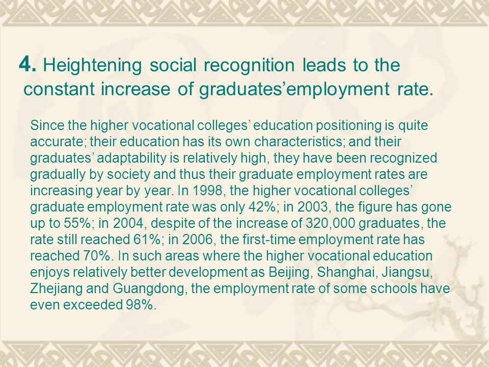 4. Heightening social recognition leads to the constant increase of graduates'employment rate.