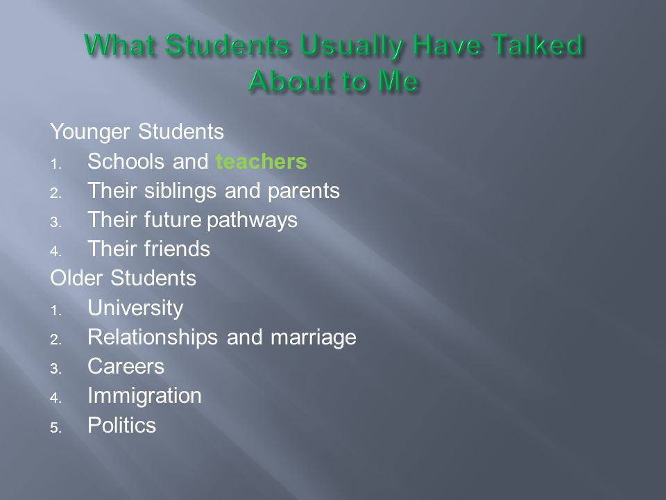 What Students Usually Have Talked About to Me