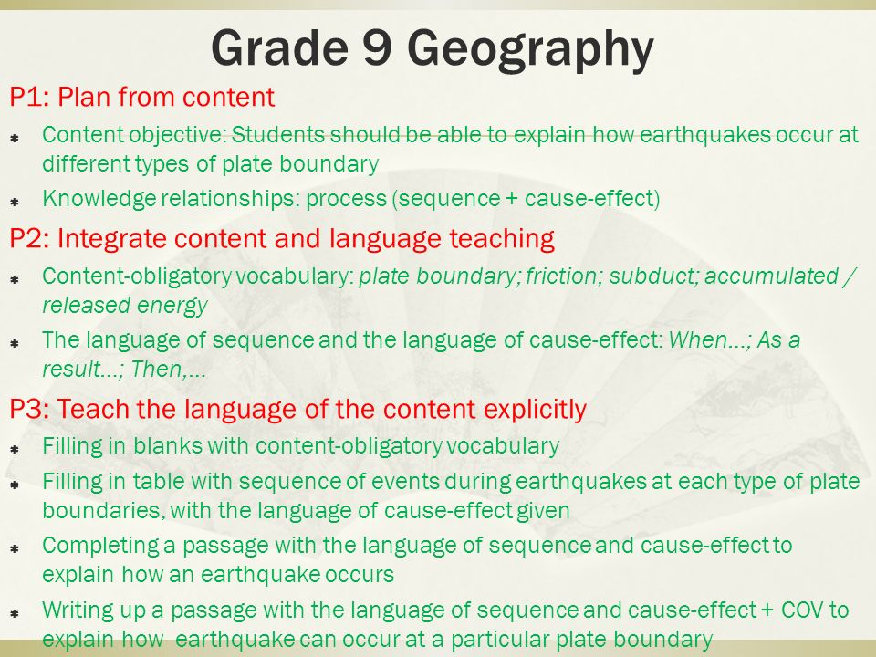 Grade 9 Geography P1: Plan from content