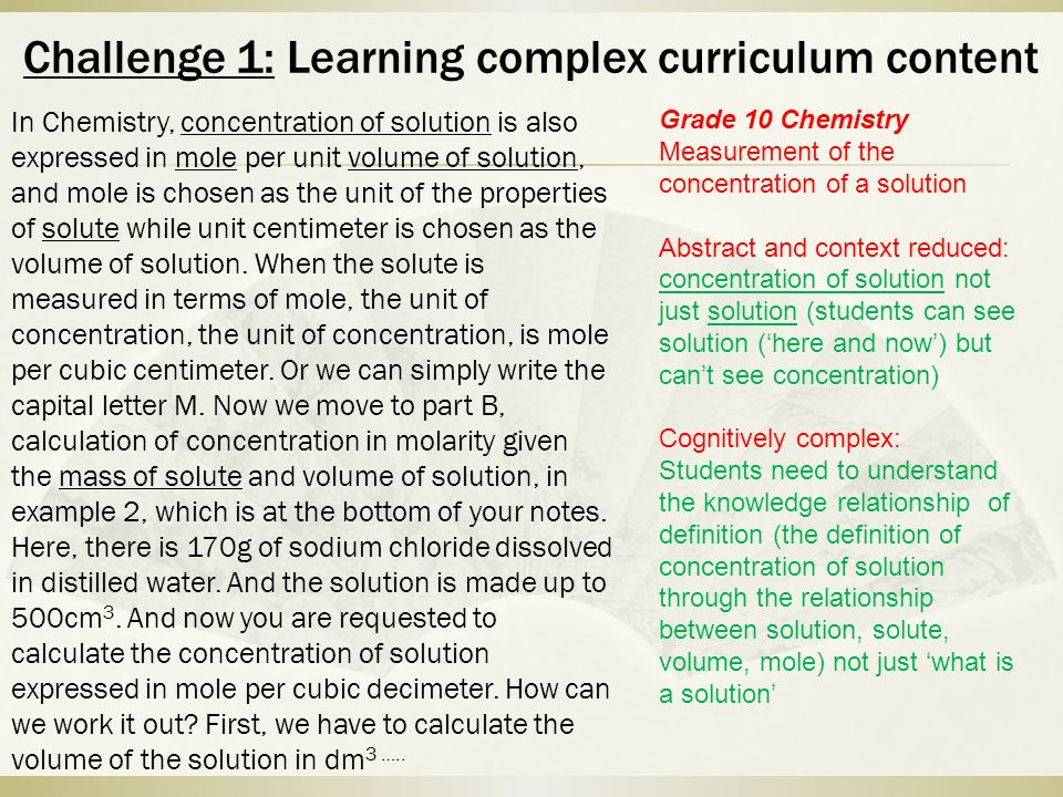 Challenge 1: Learning complex curriculum content