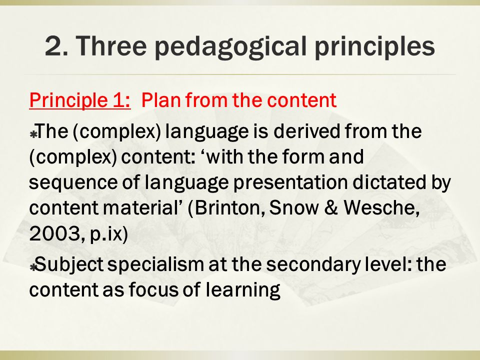 2. Three pedagogical principles