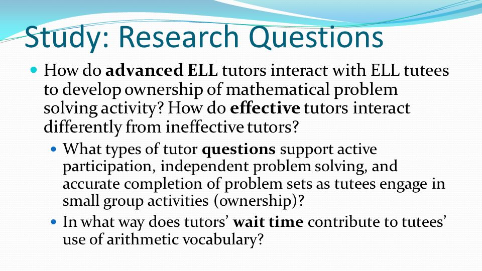 Study: Research Questions