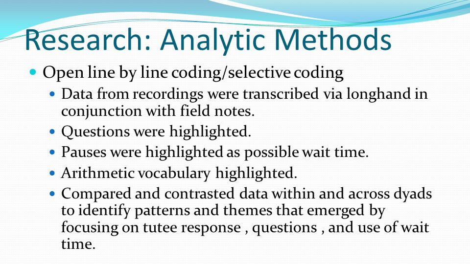 Research: Analytic Methods