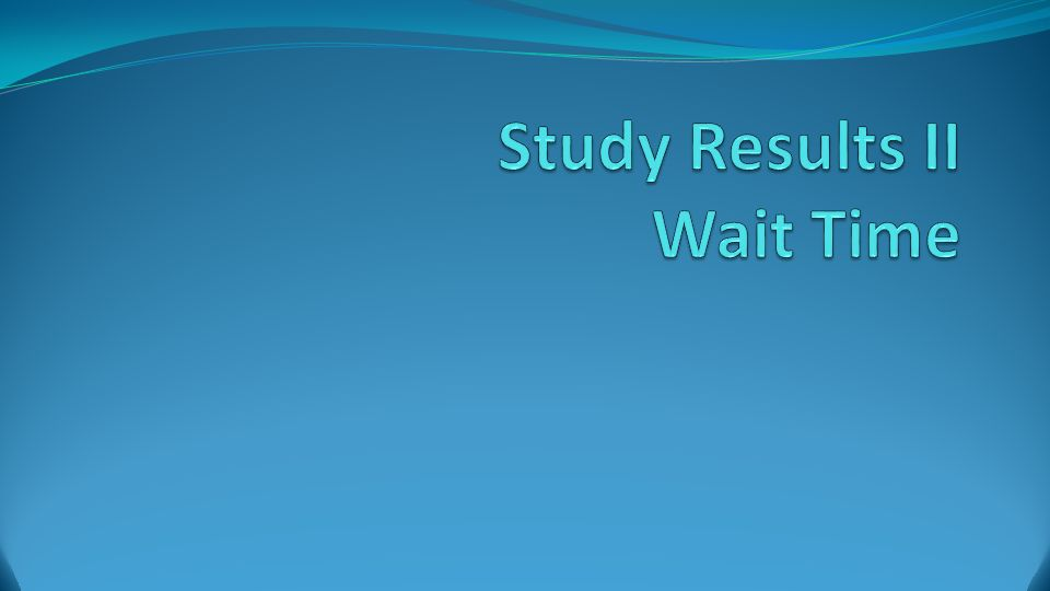 Study Results II Wait Time