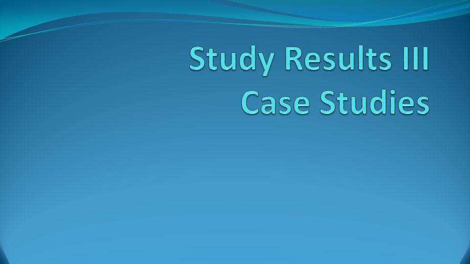 Study Results III Case Studies