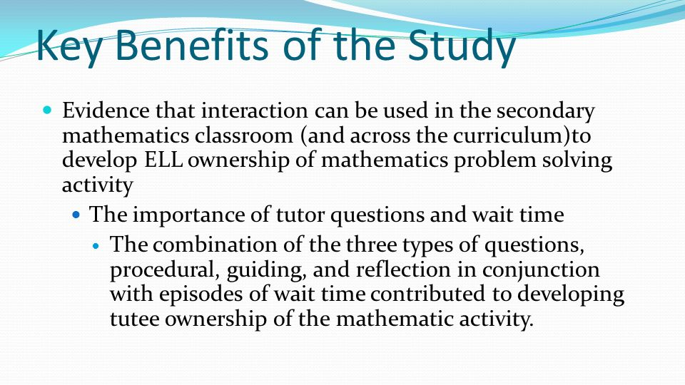 Key Benefits of the Study