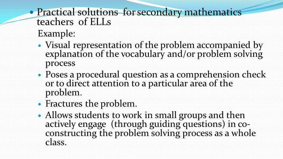 Practical solutions for secondary mathematics teachers of ELLs