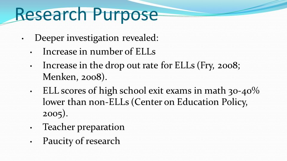 Research Purpose Deeper investigation revealed: