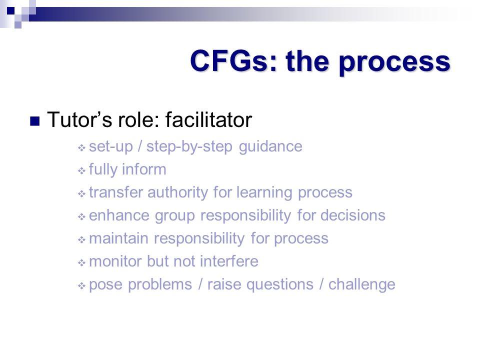CFGs: the process Tutor's role: facilitator
