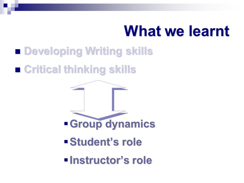 What we learnt Developing Writing skills Critical thinking skills