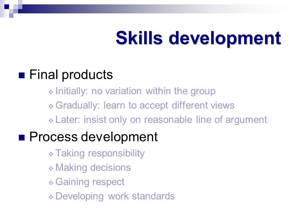 Skills development Final products Process development