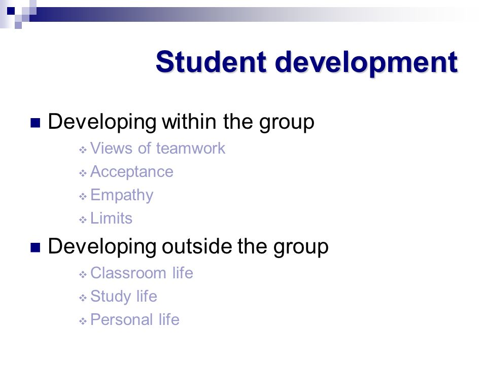 Student development Developing within the group