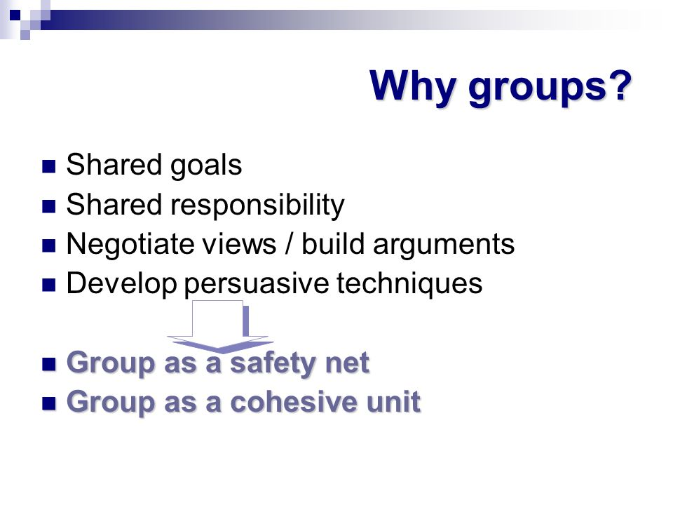 Why groups Shared goals Shared responsibility