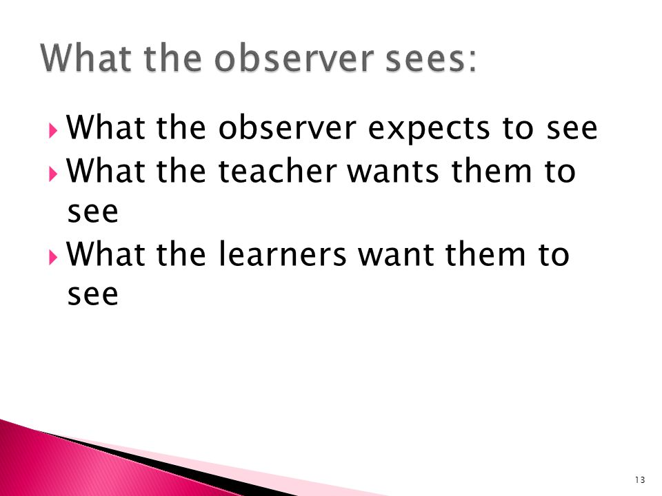 What the observer sees: