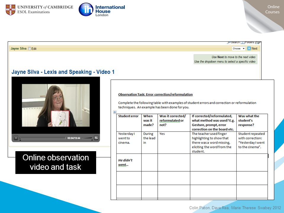 Online observation video and task