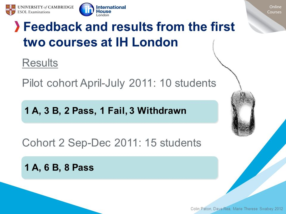 Feedback and results from the first two courses at IH London
