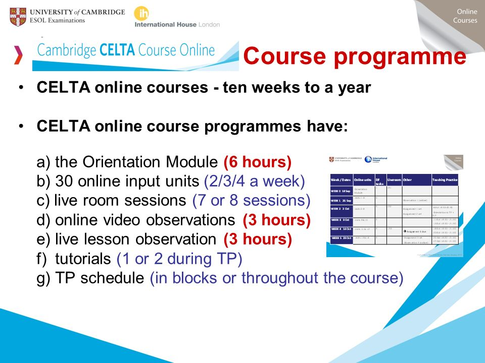 Course programme CELTA online courses - ten weeks to a year
