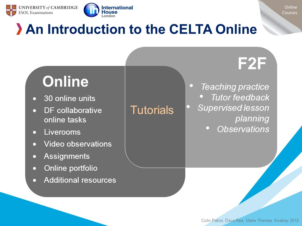 F2F Online An Introduction to the CELTA Online Tutorials
