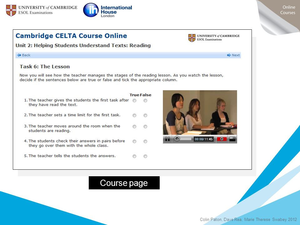 Course page Colin Paton, Dave Rea, Marie Therese Swabey 2012 8