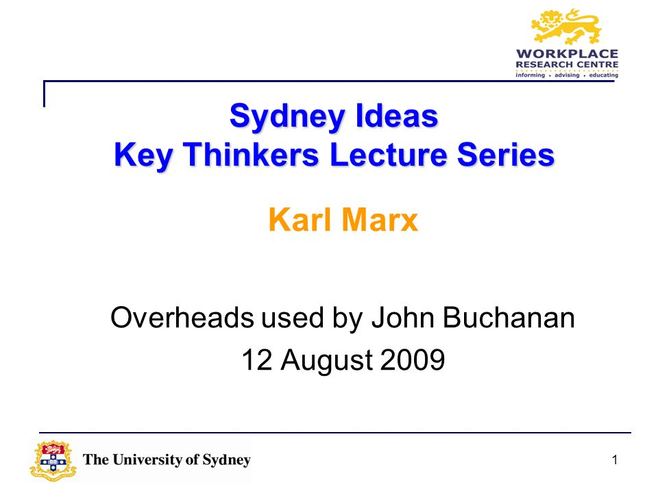 Sydney Ideas Key Thinkers Lecture Series