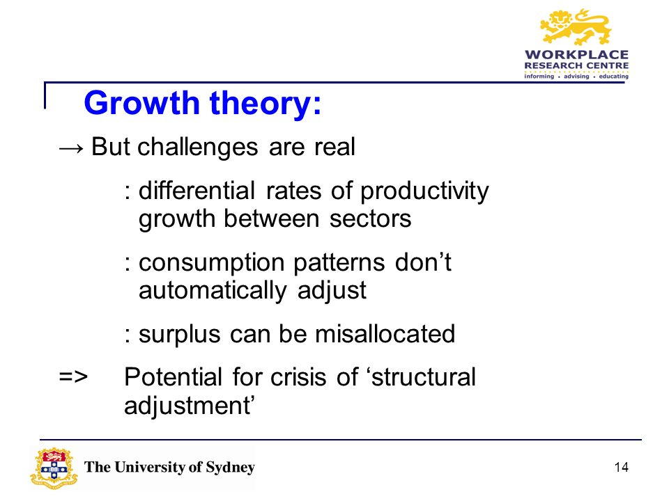 Growth theory: → But challenges are real