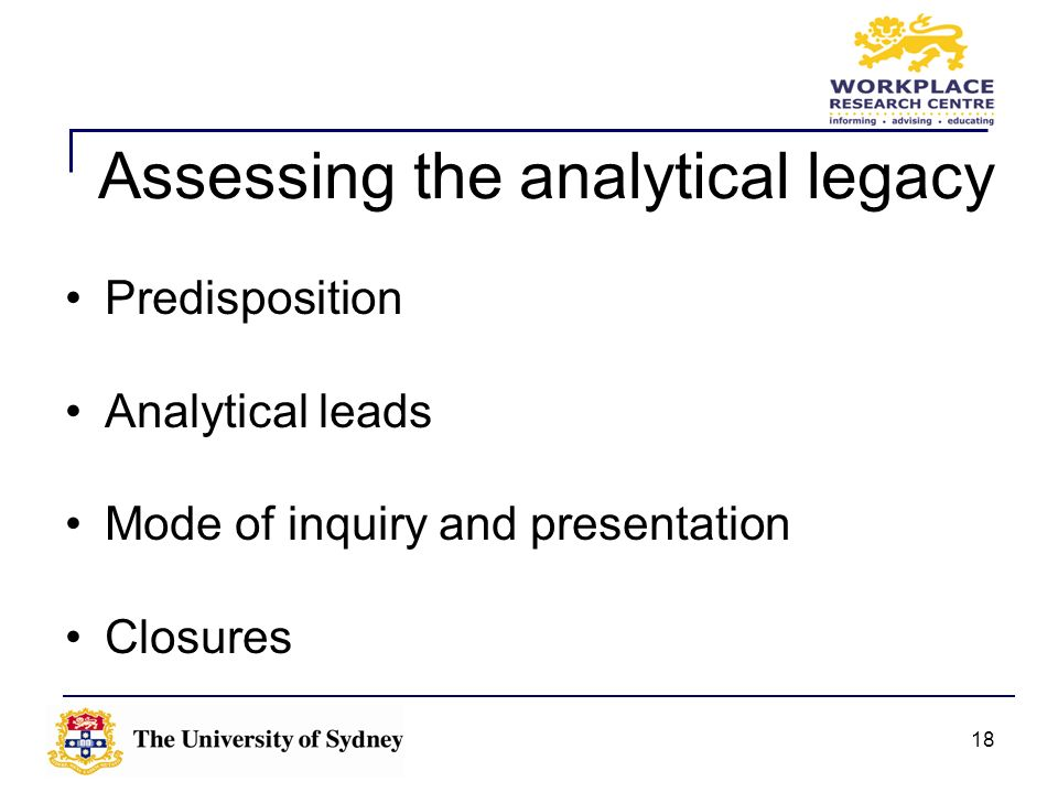 Assessing the analytical legacy